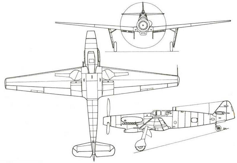 Схема высотного истребителя Ме.155В