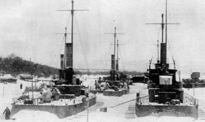 Канонерки амурской флотилии на зимовке в Благовещенске