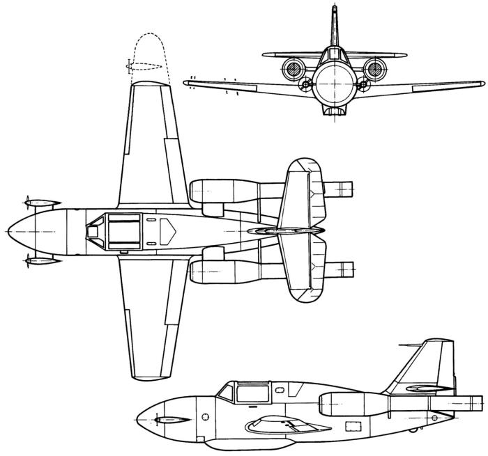 Схема Ме.328 (первоначальная)