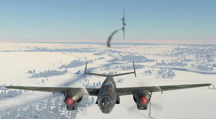 В.18В обороняется от Пе-3