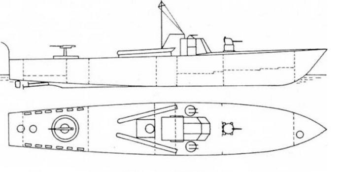 Проекция экспериментального катера МТВ-501