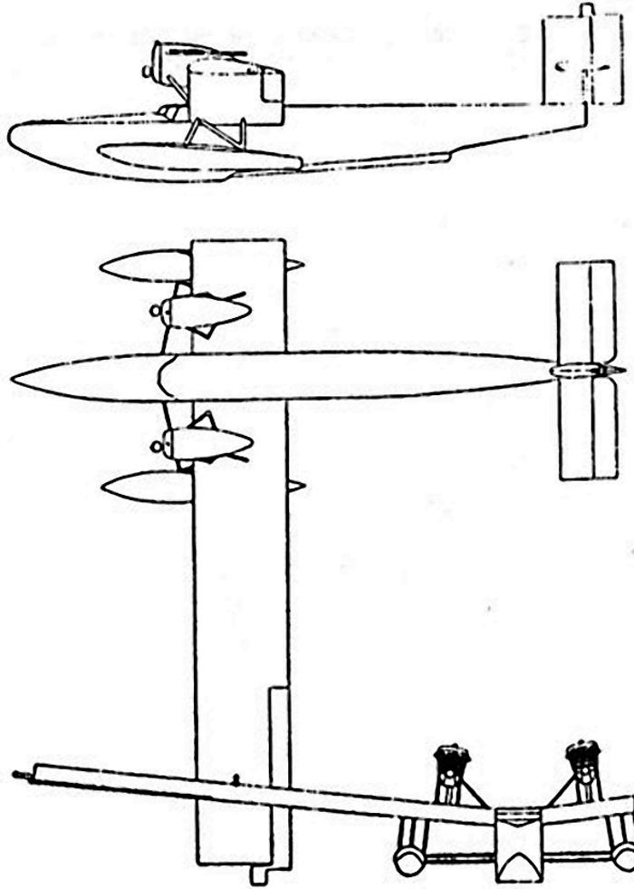 Схема гидроплана Rohrbach Ro II