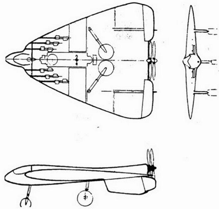 Эскиз истребителя-перехватчика Москалева 1934 год