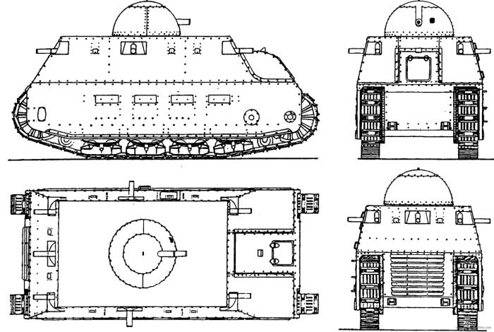 Проекции танка Fiat 2000