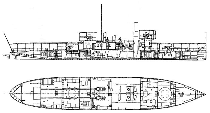 Монитор «Körös» по состоянию на 1894 г. Продольный разрез и план трюма.